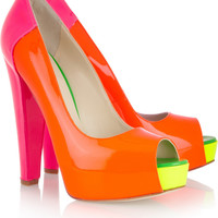 Brian Atwood|Alima neon patent-leather pumps|NET-A-PORTER.COM