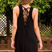 Easy Does It Lace Up Dress - Black
