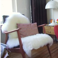 Sheepskin Chair Cover Seat Pad Soft Carpet Hairy Plain Skin Fur Plain Fluffy Area Rugs  Bedroom Faux carpet Mat Muzzi 002 4sizes
