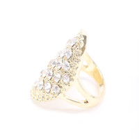 Gold Carved Detail Rhinestone Accent Oval Ring