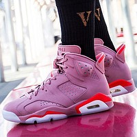 inseva Air Jordan 6 Fashion Women Casual Sport Basketball Shoes Sneakers Pink