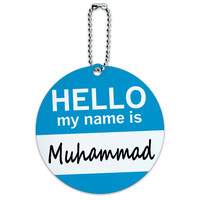 Muhammad Hello My Name Is Round ID Card Luggage Tag