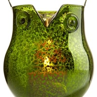 1.3 oz. Mini Candle Luminary Green Mercury Glass Owl