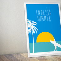 Endless Summer Blue Pop Large Poster - Blue White Yellow - Living Bedroom Bathroom - Large Art Print - Large Wall Decor - Beach House