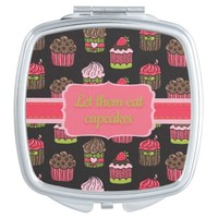Cute Pink and Lime Green Let Them Eat Cupcakes Vanity Mirror