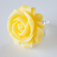 Yellow Resin Rose Flower Silver Metal Ring Vintage Inspired, Bridal Jewelry, Bridesmaids Gifts, Spring Trends