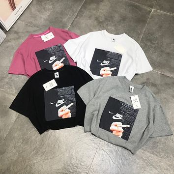 """""""Nike"""" Unisex Loose Personality smokes Pattern Print Couple Short Sleeve Round Neck T-shirt Top Tee"""