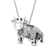 Sterling Silver and Diamond Accent Cow Pendant Necklace