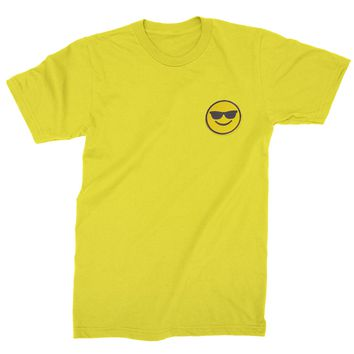 Embroidered Sunglasses Emoticon Patch (Pocket Print) Mens T-shirt