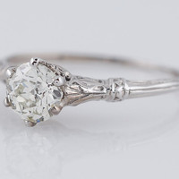 Antique Engagement Ring Edwardian .72ct Old European Cut Diamond in 18k White Gold