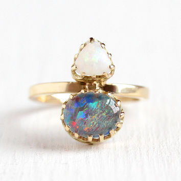 Antique Opal Ring - Edwardian 14k Rosy Yellow Gold Two Stone Statement - Size 6 Stick Pin Conversion Early 1900s Play of ColorJewelry
