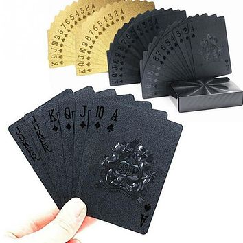 Creative Playing Cards Waterproof Golden Poker Collection Black Diamond Poker Cards Hot Gift Standard Party Playing Cards Set FREE SHIPPING