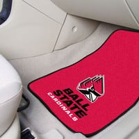 """Ball State 2-pc Carpeted Car Mats 17""""""""x27"""""""""""
