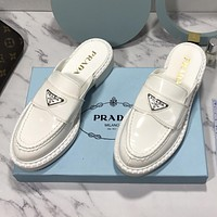 PRADA new pure color patent leather sandals triangle logo toe cap slippers Shoes