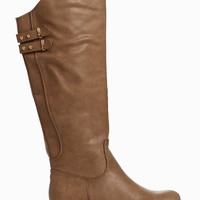 Light-Brown-Faux-Leather-Buckle-Boot