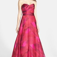 Mikael Aghal Ruched Silk Organza Strapless Gown