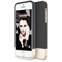 iPhone 5S Case, Maxboost [Vibrance Series] For Apple iPhone 5S / 5 Case [Lifetime Warranty] Protective SOFT-Interior Slider Style Hard Cases Cover - Black/Champagne Gold
