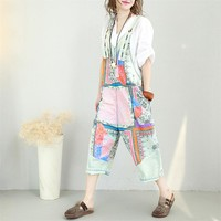 Yesno PB3 Women Jeans Cropped Pants Overalls Jumpsuits 100% Cotton Hand Painted Casual Loose Fit