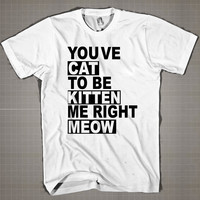 Cat Kitten Meow  Mens and Women T-Shirt Available Color Black And White