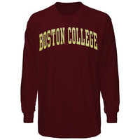 Boston College Eagles Vertical Arch Long Sleeve T-Shirt - Maroon