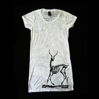 Supermarket - Wmns White Burn Out Tunic feat. Deer Bones print in Black  from James Anthony Apparel