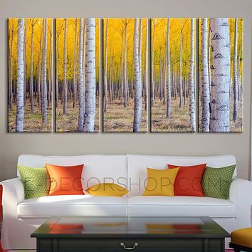 Large Wall Art Print Canvas Set Poplar Forest Poplar Tree Canvas Wall Art +Ready to Hang +