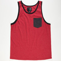 Blue Crown Tri Color Mens Pocket Tank Red  In Sizes