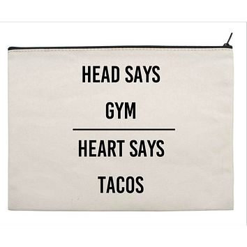 Head Says Gym | Heart Says Tacos Canvas Gift Tote
