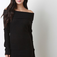 Off-The-Shoulder Ribbed Sweater Dress