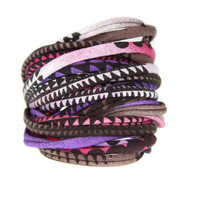 Hipster Jewelry Fabric Friendship Chunky Bracelet Bangle Braided Cuff Women Knot Tribal Boho Stack Bangles Bracelets Magenta Purple Brown