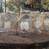 Set of 5 - Shabby Chic Rustic Style Mason Jars with Sola Flower - Rustic Wedding Decor