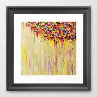 OPPOSITES LOVE Raining Sunshine - Bold Bright Sunny Colorful Rain Storm Abstract Acrylic Painting Framed Art Print by EbiEmporium | Society6