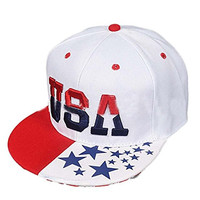Willtoo 2016 unsiex USA American Flag Snapback Cap Adjustable United States Baseball Cap Hat (White )