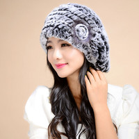 Women Winter Knit Fur Beret Real Rex Rabbit Fur Berets hat