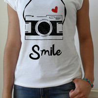 Hand stenciled heart camera smile print white t shirt by MTwear