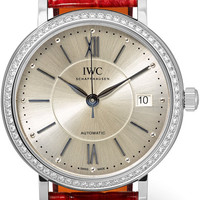 IWC SCHAFFHAUSEN - Portofino Automatic 37 alligator, stainless steel and diamond watch