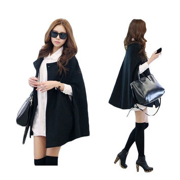 ohVoh Fashion Womens Black Batwing Cape Wool Poncho Jacket Winter Warm Cloak Coat = 1946198852