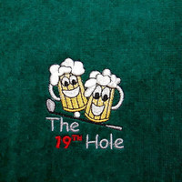 Funny Golf, Golf Towel, Personalized Golf, The 19th Hole, Beer Towel, Gift for Him, Tri-Fold Towel, Funny Golf Gift, Custom Golf, Dad Gift
