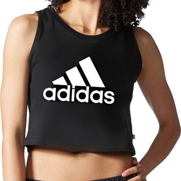 """""""Adidas"""" Fashion Casual Classic Letter Print Round Neck Sleeveless Vest T-shirt Crop Top"""