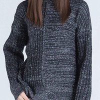 Dark Grey Perkins Collar Ribbing Knitted Jumper