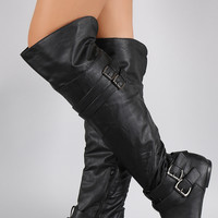 Buckle Strap Round Toe Riding Over-The-Knee Boots