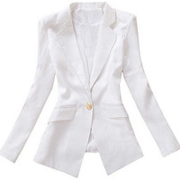 Long Sleeve Notched Collar Double Pocket Blazer Suit