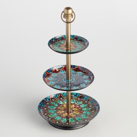 Dark Mosaic Enameled Three Tier Jewelry Stand
