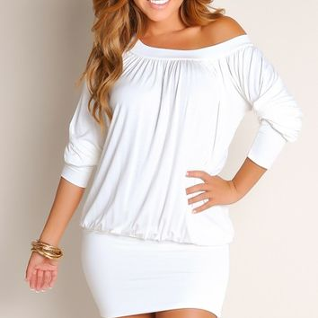 Ivory Tunic Round Neck Long Sleeves Club Dresses