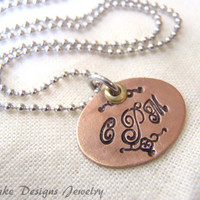 Personalized 3 initial monogram necklace