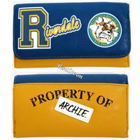 Licensed cool Riverdale Varsity Property Of Archie Faux Leather Trifold Flap Wallet Bulldogs