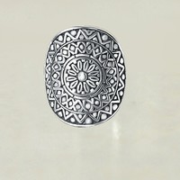 Aztec Shield Oxidized Sterling Silver Ring