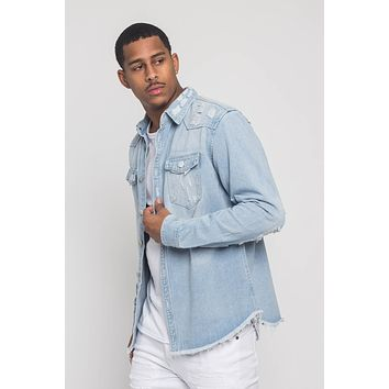 Distressed Denim Button Up Shirt Jacket