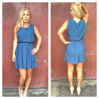 Blue Chiffon Rachel Dress