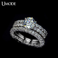 UMODE Best Quality 7.5mm 1.75ct Cubic Zirconia simulated CZ Stone Three Band Wedding Ring UR0002